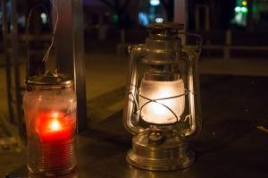 dva horiace lampáše